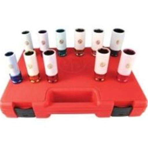 11 Piece 0.5 Inch Drive Metric And SAE Wheel Nut Protector Impact Socket Set