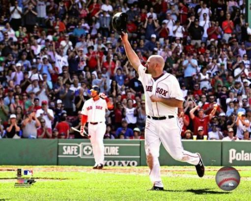 Kevin Youkilis waves to the crowd after his last game with the Red Sox- June 24, 2012 Photo Print