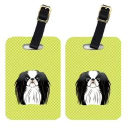 Carolines Treasures BB1292BT Pair Of Checkerboard Lime Green Japanese Chin Luggage Tags