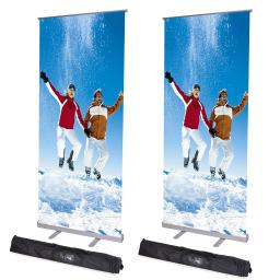 "2pc 32x79""  Adjustable Height Retractable Roll Up Banner Stand Telescopic Display"
