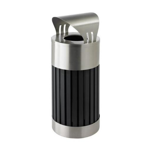 Commercial Zone Riverview 2 Canopy Top Stainless Steel and Black Powder-Coated Steel Waste Receptacle