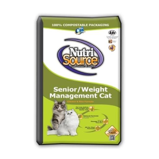 Animal Supply Company TU28005 Nutrisource Senior Weight Management Dry Cat Food, Chicken And Rice