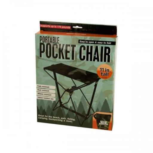Bulk Buys OC867 Portable Pocket Chair with Carrying Case - Black, Brown, Green
