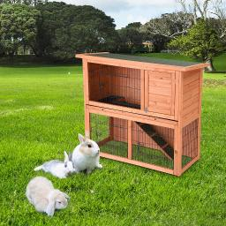 "44"" 2-Story Wooden Rabbit Hutch Fir Wood Pet Cage w/ Run Asphalt Roof Rainproof Heat Protection Bunny House Small Animal"