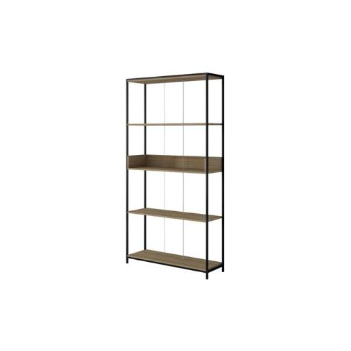 Manhattan Comfort 116AMC152 Ellis 36.61 in. Bookcase 1 with 4 Shelves in Dark Oak & Black