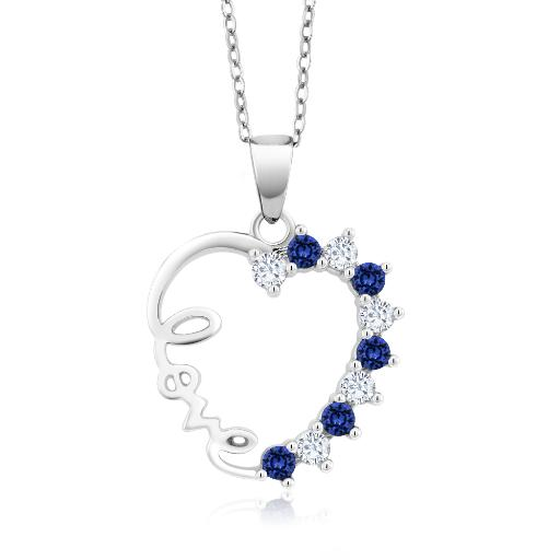 GHI Created Moissanite by Charles /& Colvard and Created Sapphire Heart Shape 0.50ct DEW 18K Rose Gold Plated Silver Pendant Forever Brilliant