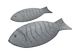 Embossed Galvanized Fish Shaped Set of 2 Metal Accent Trays