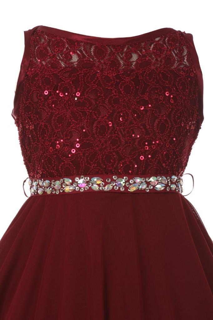 9b4957cc9cb Cinderella Couture Big Girls Burgundy Sparkle Sequin Lace Chiffon Junior  Bridesmaid Dress 8-18
