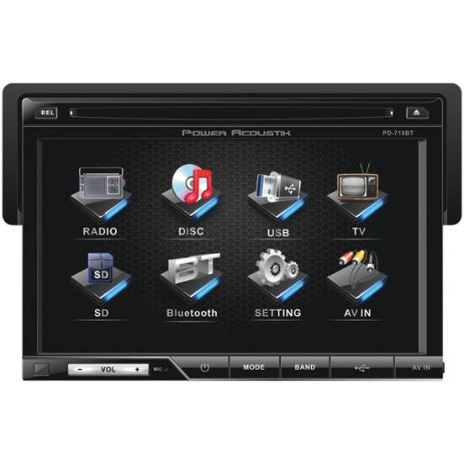 Power acoustik(r) pd-710b 7 single-din in-dash lcd touchscreen dvd receiver with detachable face (with bluetooth(r))