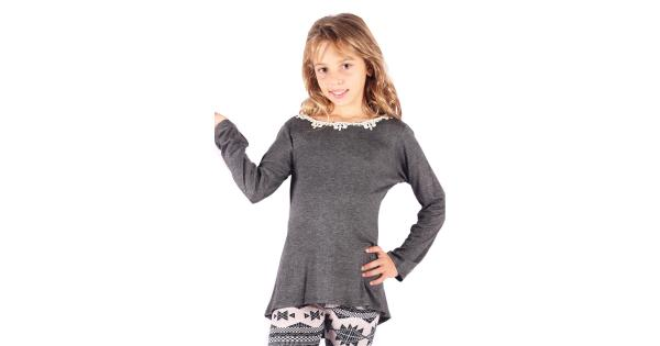 Lori/&Jane Big Girls Charcoal Long Sleeves Solid Color Gathered Top 6-14