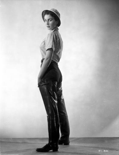 Jean Simmons Posed in White Gingham Short Sleeve Shirt and Black Straight Cut Pants with Leather Shoes Photo Print T4HR3W97UL7NNCYX