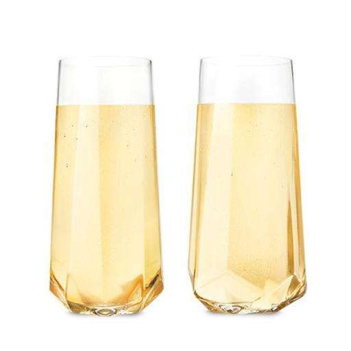 True 2215 Raye - Faceted Crystal Champagne Glass, Set of 2