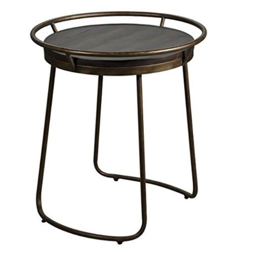 Uttermost 25946 24 x 22 x 22 in. Rayen Round Accent Table - Metal & Acacia Wood