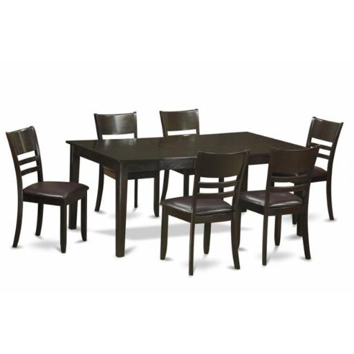 East West Furniture HELY7-CAP-LC 7 Piece Formal Dining Room Set-Kitchen Table Having Leaf and 6 Dining Room Chairs
