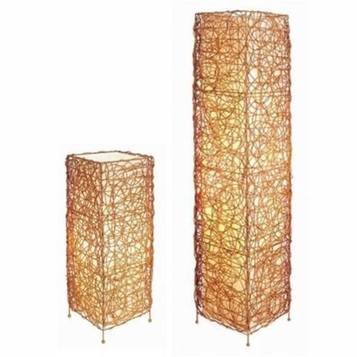 Ore International 31138TF Rectangle Rattan Lamp Set - Table Lamp + Floor Lamp