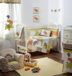 [Jungle and Safari] 4 Pc Crib Bedding Set Crib Bedding Collection