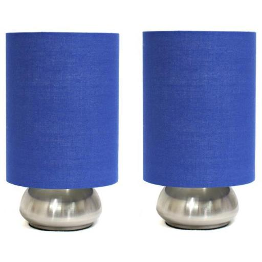 2 Pack Mini Touch Lamp with Brushed Steel Base and Blue Shade