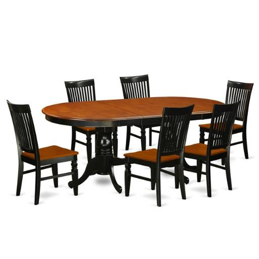 East West Furniture PLWE7-BCH-W Kitchen Table Set with a Dining Table & 6 Chairs, 7 piece - Black & Cherry