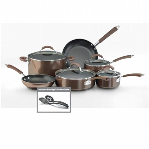 Farberware 10570 12-Piece Set Porcelain Nonstick Cookware Bronze