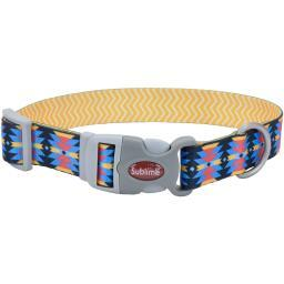 "Sublime 3/4"" Adjustable Dog Collar-Aztec W/Yellow Chevron, Neck Size 8""-12"""