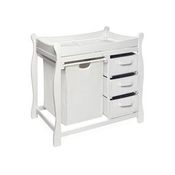 Badger Basket Co White Sleigh Style Changing Table with Hamper/3 Baskets