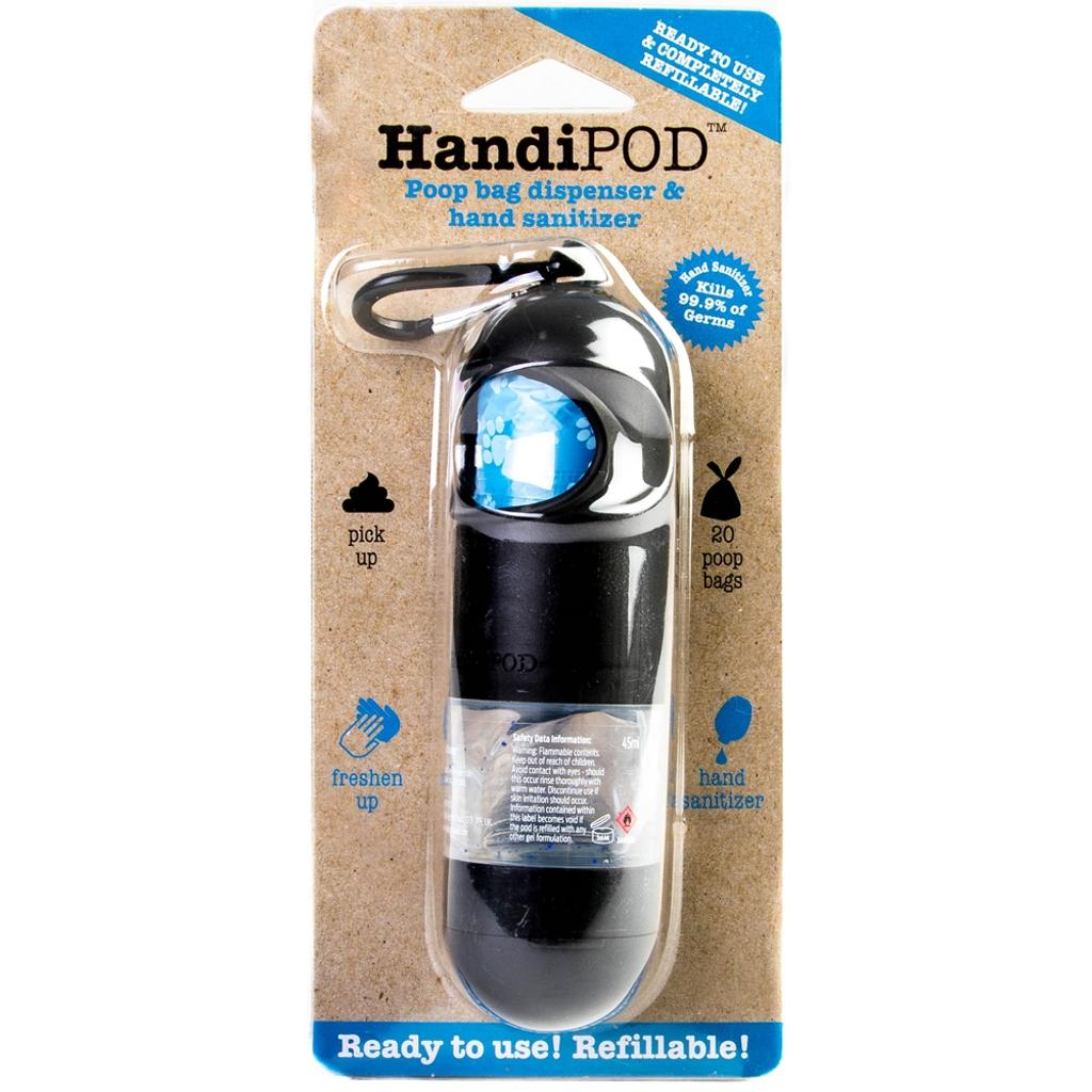 KONG HandiPod Pet Waste Bag Dispenser with 20 Pet Waste Bags and 1.5fl oz's Hand Sanitizer - Black