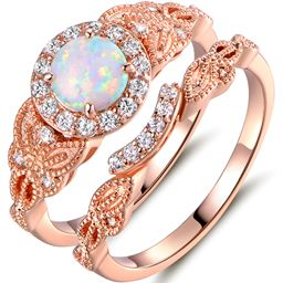 18K Rose Gold Plated White Fire Opal & Cubic Zirconia Engagement Ring Set - Size 5