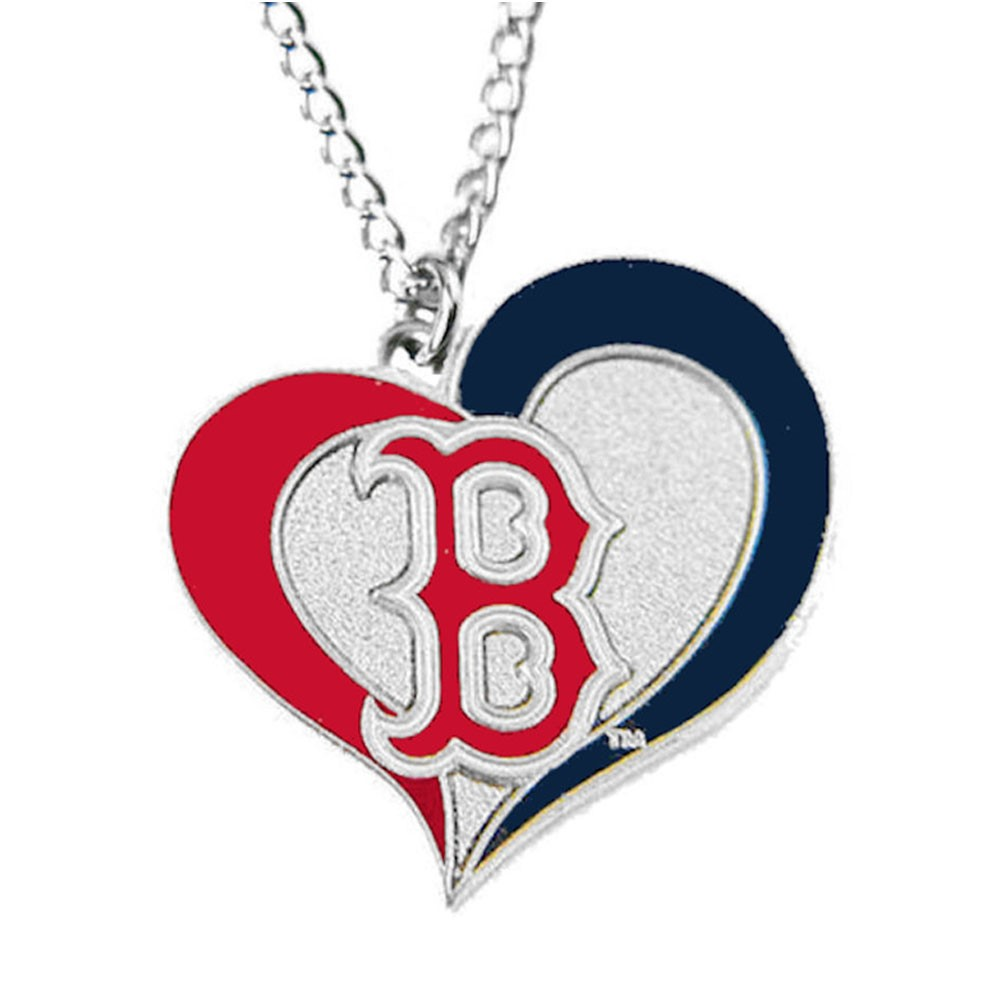 Sports Team Logo  MLB Boston Red Sox Swirl Heart Necklace