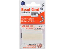 Natural Silk Bead Cord .6mmX2m White
