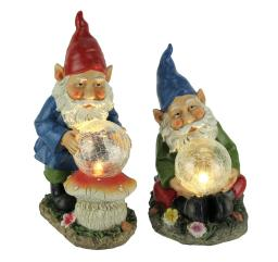 Garden Gnomes Holding LED Crackled Glass Ball Solar Statue Set of 2