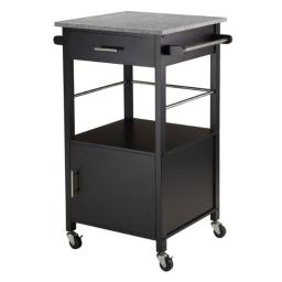 Winsome 20023 34.84 x 23.23 x 19.37 in. Davenport Kitchen Cart with Granite Top, Black