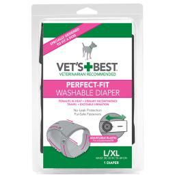 Vet'S Best 3165810418 Gray Vet'S Best Perfect-Fit Washable Female Dog Diaper 1 Pack Large / Extra Large Gray 6 X 2.13