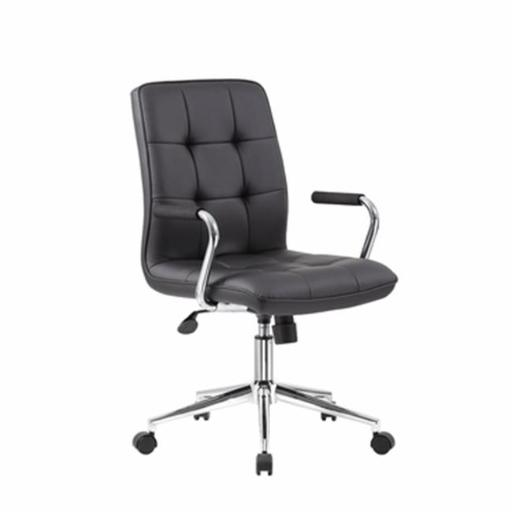 Modern Office Chair with Chrome Arms, Black