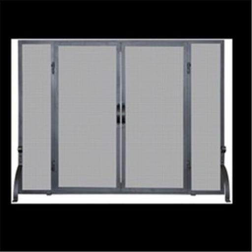 Uniflame S-1046 SINGLE PANEL BLACK WROUGHT IRON SCREEN WITH DOORS, LARGE