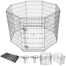 "Yescom 42"" Pet Dog Playpen Exercise Fence Cage Kennel Play Pen with Door 8 Panel Outdoor Indoor"