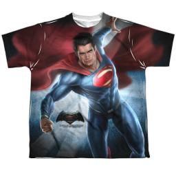 Batman Vs Superman Superman Light Big Boys Sublimation Shirt White Xl