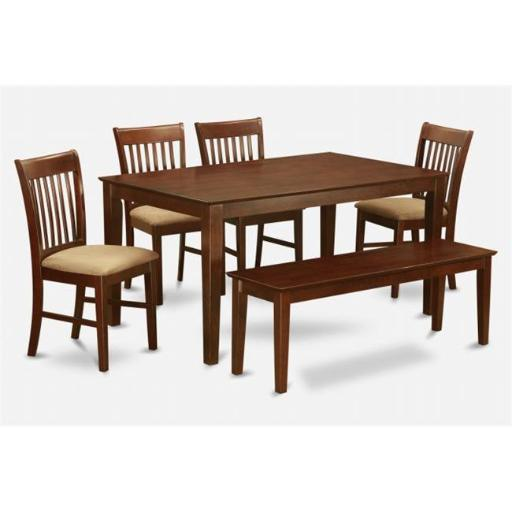 East West Furniture CANO6C-MAH-C 6 Piece Dining Room Table With Bench Set- Table and 4 Dining Chairs and Bench