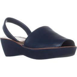Kenneth Cole REACTION Fine Glass Perforated Wedge Sandals, Navy Fine Glass