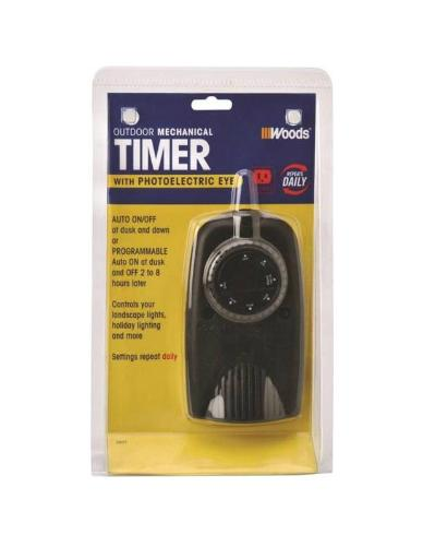 Woods 2001 Outdoor Mechanical Timer With Photocell, Black