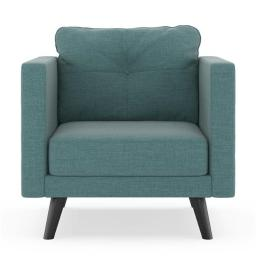 NyeKoncept 50200349 Kennedy Armchair Linen Weave - Stone Blue with Black Finish