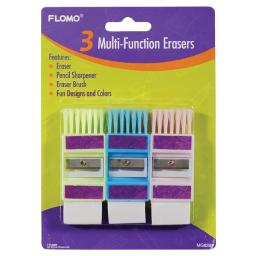 3 Pack Multi-Function Sharpeners And Erasers