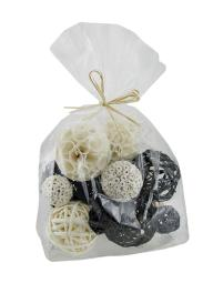 18 Piece Back & White Exotic Dried Organic Decor Balls