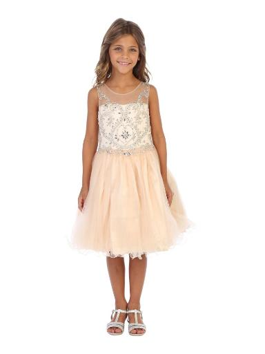 Angels Garment Girls Champagne Beaded Corset Back Party Dress 6-16