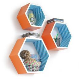 Bright And Sunny Hexagon Leather Wall Shelf / Floating Shelf (Set of 3)