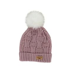 Britt's Knits Women's Plush-Lined Knit Hat With Pom, Blush, One Size