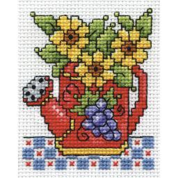 """Watering Can Counted Cross Stitch Kit-2.5""""X3.5"""" 18 Count DW603"""