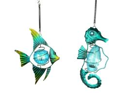 Blue Glass and Metal Art Fish and Seahorse Solar Light Hanging Ornament Set