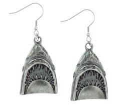 Rock Rebel Great White Shark Jaws Head Earrings Movie