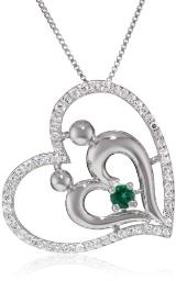"""Sterling Silver Created Emerald and Created White Sapphire Mother and Child Heart Pendant Necklace, 18"""""""