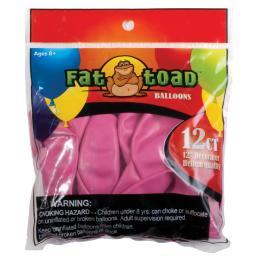 "Fat Toad Balloons Round 12"" 12/pkg-fuchsia Pink"
